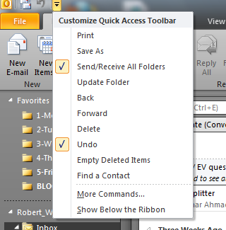 putlook 2010 how to change the toolbar